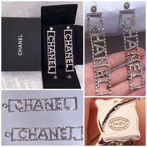 CHANEL Crystal Drop Stud Earrings